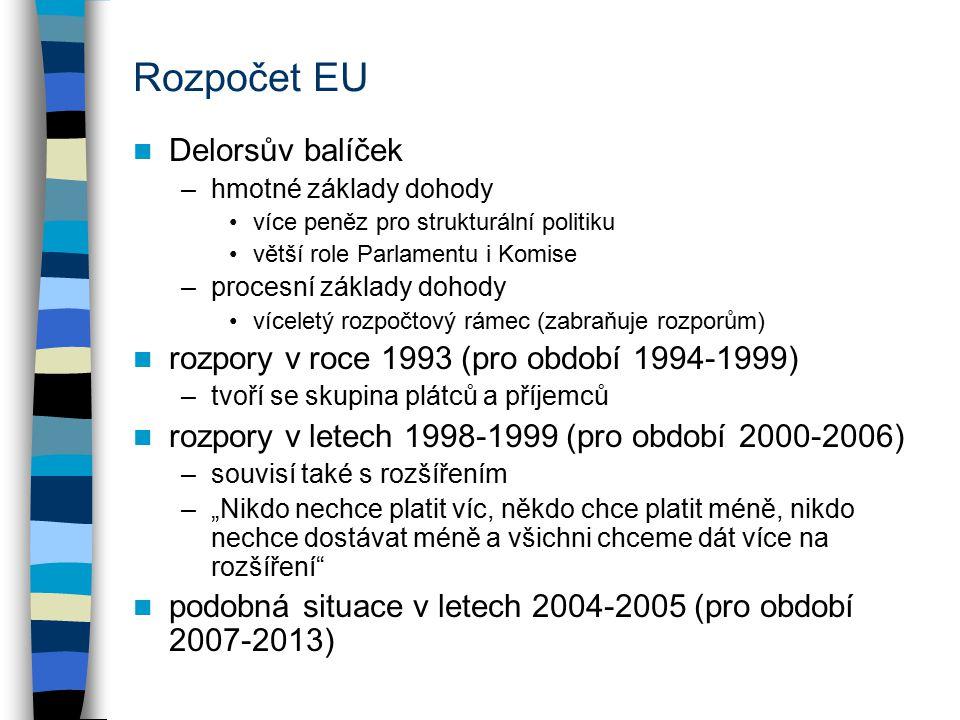 """Rozpočet EU Delorsův balíček –hmotné základy dohody více peněz pro strukturální politiku větší role Parlamentu i Komise –procesní základy dohody víceletý rozpočtový rámec (zabraňuje rozporům) rozpory v roce 1993 (pro období 1994-1999) –tvoří se skupina plátců a příjemců rozpory v letech 1998-1999 (pro období 2000-2006) –souvisí také s rozšířením –""""Nikdo nechce platit víc, někdo chce platit méně, nikdo nechce dostávat méně a všichni chceme dát více na rozšíření podobná situace v letech 2004-2005 (pro období 2007-2013)"""