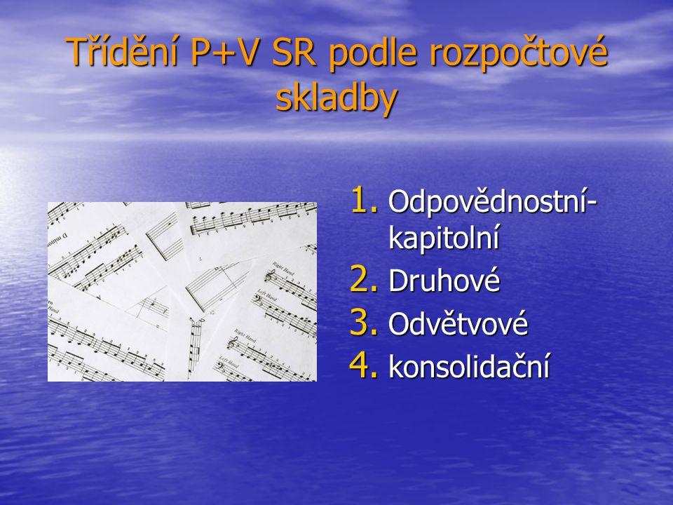 Třídění P+V SR podle rozpočtové skladby 1. Odpovědnostní- kapitolní 2. Druhové 3. Odvětvové 4. konsolidační
