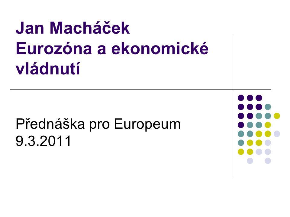 Jan Macháček Eurozóna a ekonomické vládnutí Přednáška pro Europeum 9.3.2011