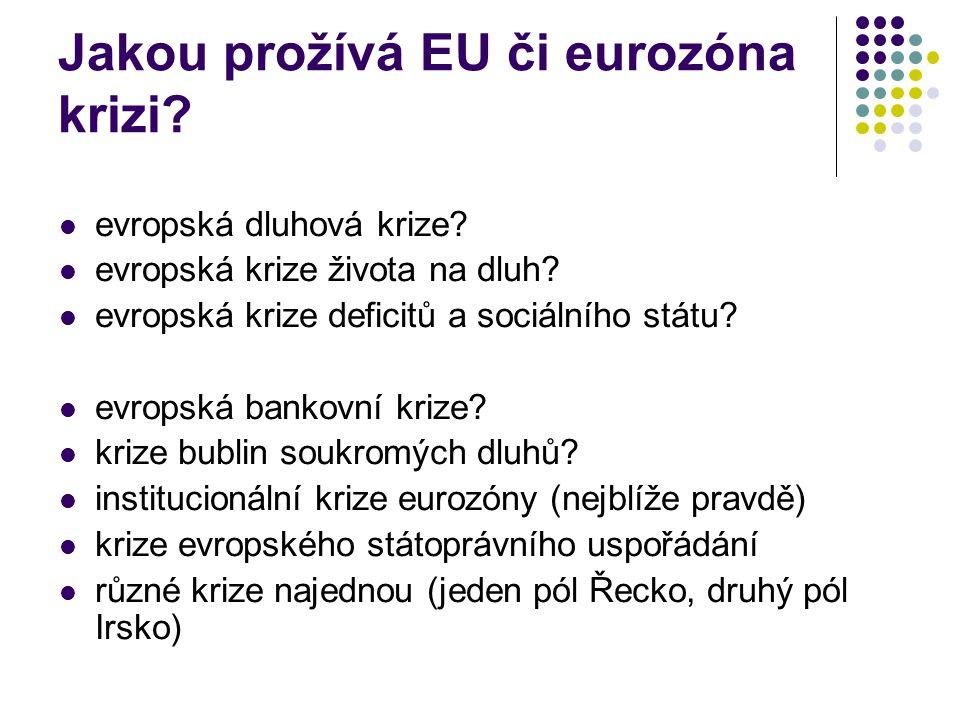 Jakou prožívá EU či eurozóna krizi. evropská dluhová krize.