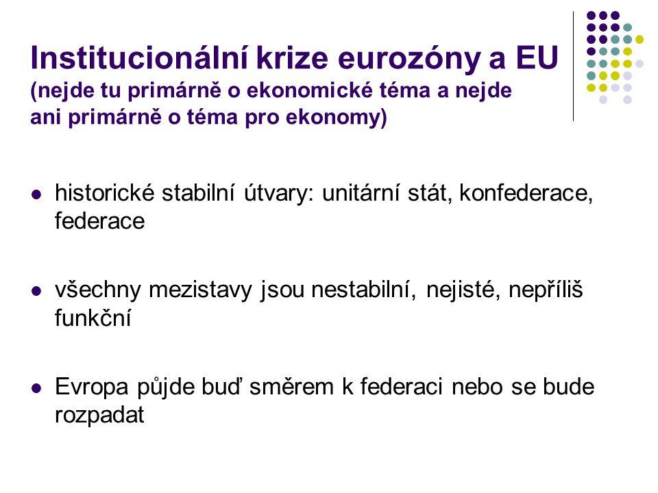 Institucionální krize eurozóny a EU (nejde tu primárně o ekonomické téma a nejde ani primárně o téma pro ekonomy) historické stabilní útvary: unitární stát, konfederace, federace všechny mezistavy jsou nestabilní, nejisté, nepříliš funkční Evropa půjde buď směrem k federaci nebo se bude rozpadat