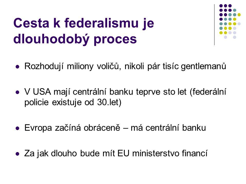 Cesta k federalismu je dlouhodobý proces Rozhodují miliony voličů, nikoli pár tisíc gentlemanů V USA mají centrální banku teprve sto let (federální policie existuje od 30.let) Evropa začíná obráceně – má centrální banku Za jak dlouho bude mít EU ministerstvo financí