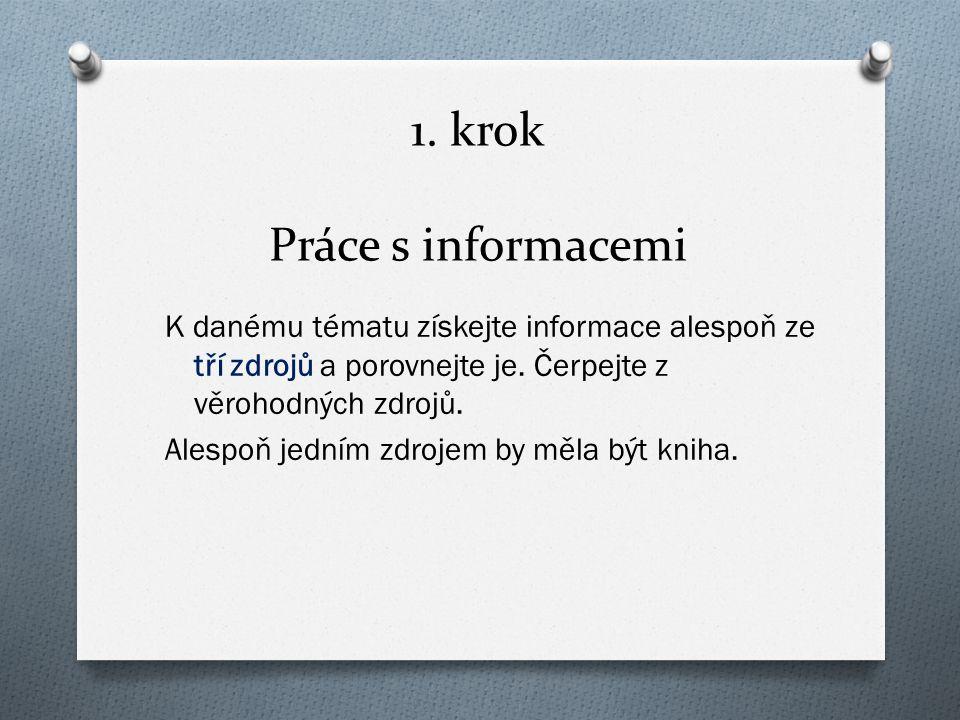 1. krok Práce s informacemi K danému tématu získejte informace alespoň ze tří zdrojů a porovnejte je. Čerpejte z věrohodných zdrojů. Alespoň jedním zd