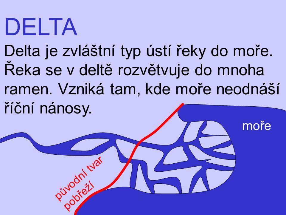 DELTA Delta je zvláštní typ ústí řeky do moře. Řeka se v deltě rozvětvuje do mnoha ramen. Vzniká tam, kde moře neodnáší říční nánosy. moře původní tva