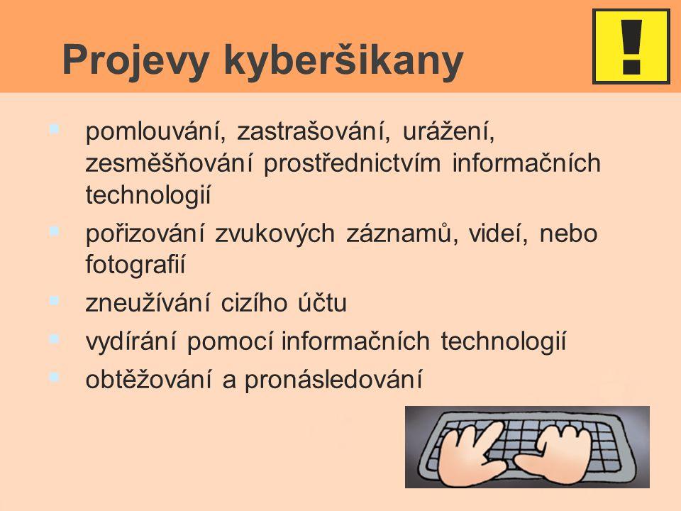 Projevy kyberšikany   pomlouvání, zastrašování, urážení, zesměšňování prostřednictvím informačních technologií   pořizování zvukových záznamů, videí, nebo fotografií   zneužívání cizího účtu   vydírání pomocí informačních technologií   obtěžování a pronásledování