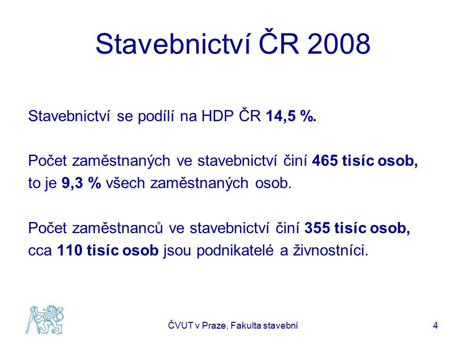 Stavebnictví ČR 2008 Stavebnictví se podílí na HDP ČR 14,5 %. Počet zaměstnaných ve stavebnictví činí 465 tisíc osob, to je 9,3 % všech zaměstnaných o