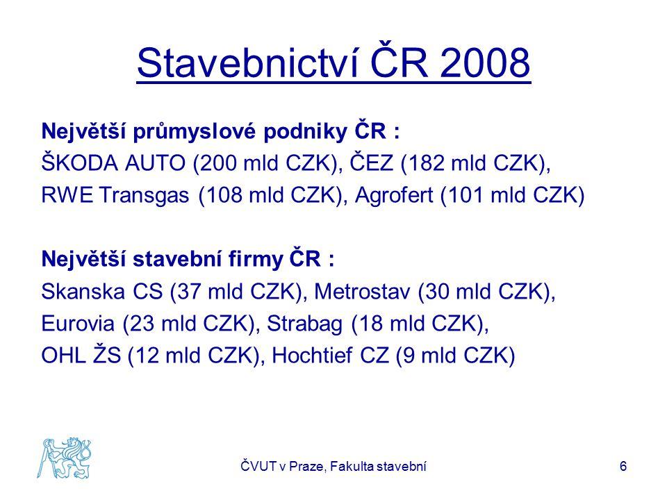 Stavebnictví ČR 2008 Největší průmyslové podniky ČR : ŠKODA AUTO (200 mld CZK), ČEZ (182 mld CZK), RWE Transgas (108 mld CZK), Agrofert (101 mld CZK)
