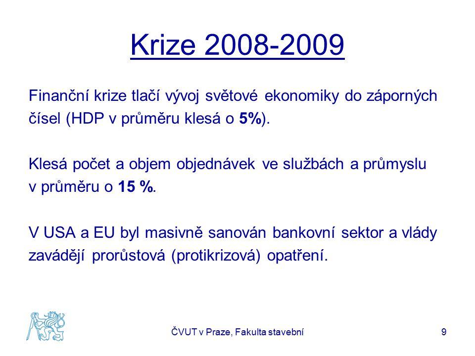 Krize 2008-2009 Finanční krize tlačí vývoj světové ekonomiky do záporných čísel (HDP v průměru klesá o 5%). Klesá počet a objem objednávek ve službách