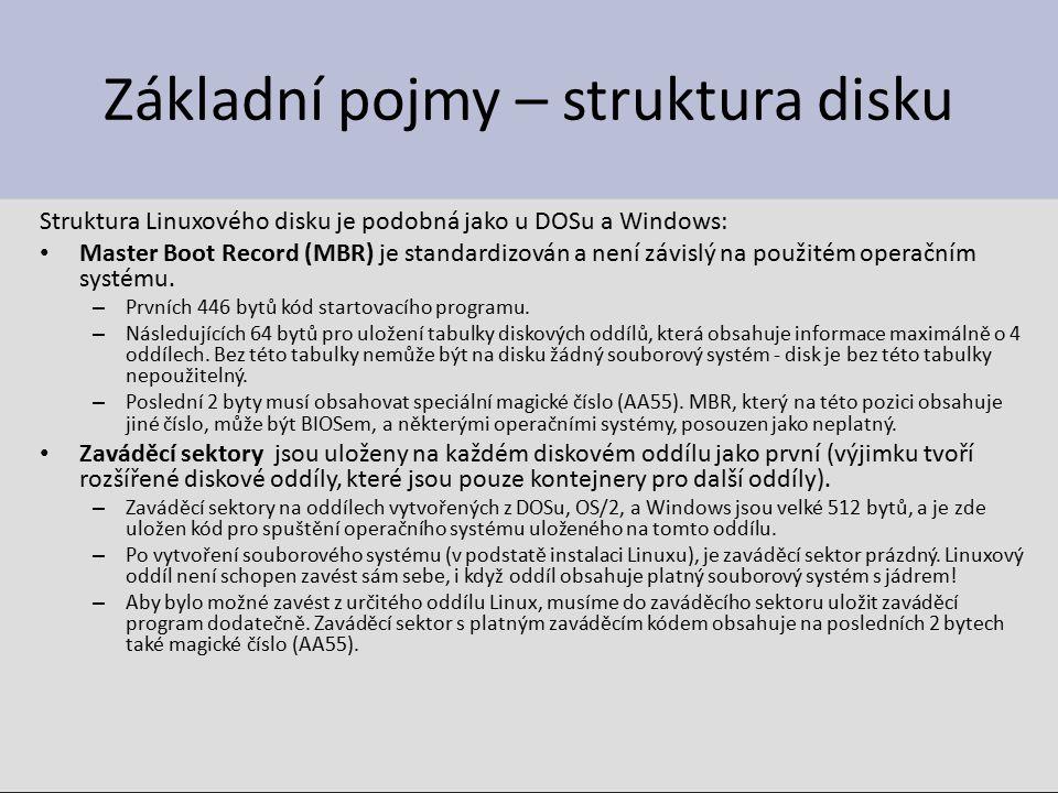 Základní pojmy – struktura disku Struktura Linuxového disku je podobná jako u DOSu a Windows: Master Boot Record (MBR) je standardizován a není závislý na použitém operačním systému.