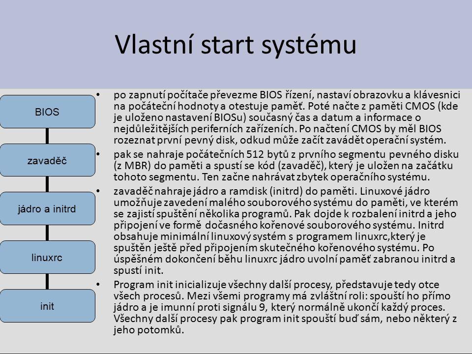Vlastní start systému po zapnutí počítače převezme BIOS řízení, nastaví obrazovku a klávesnici na počáteční hodnoty a otestuje paměť.