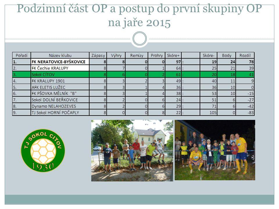 Podzimní část OP a postup do první skupiny OP na jaře 2015