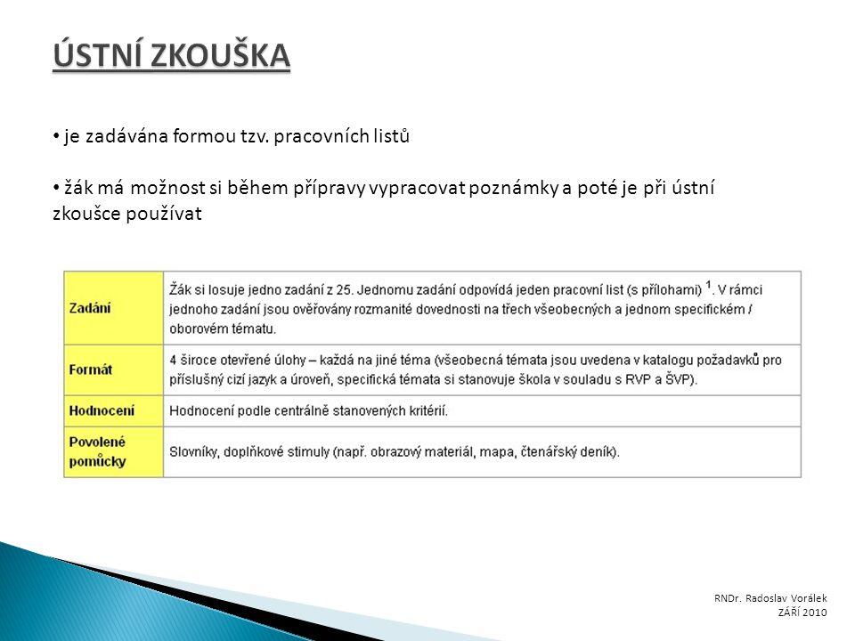 RNDr. Radoslav Vorálek ZÁŘÍ 2010 je zadávána formou tzv. pracovních listů žák má možnost si během přípravy vypracovat poznámky a poté je při ústní zko