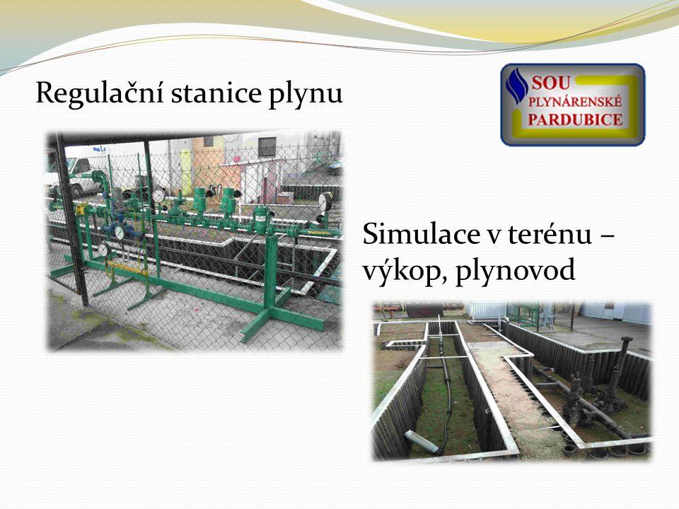 Regulační stanice plynu Simulace v terénu – výkop, plynovod