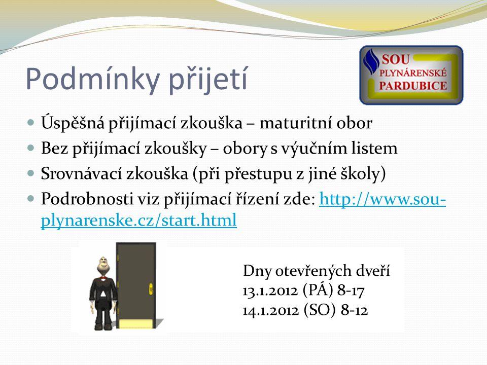 Podmínky přijetí Úspěšná přijímací zkouška – maturitní obor Bez přijímací zkoušky – obory s výučním listem Srovnávací zkouška (při přestupu z jiné školy) Podrobnosti viz přijímací řízení zde: http://www.sou- plynarenske.cz/start.htmlhttp://www.sou- plynarenske.cz/start.html Dny otevřených dveří 13.1.2012 (PÁ) 8-17 14.1.2012 (SO) 8-12