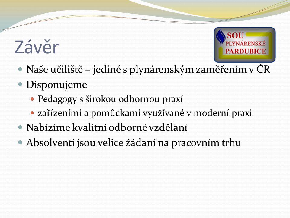 Závěr Naše učiliště – jediné s plynárenským zaměřením v ČR Disponujeme Pedagogy s širokou odbornou praxí zařízeními a pomůckami využívané v moderní praxi Nabízíme kvalitní odborné vzdělání Absolventi jsou velice žádaní na pracovním trhu