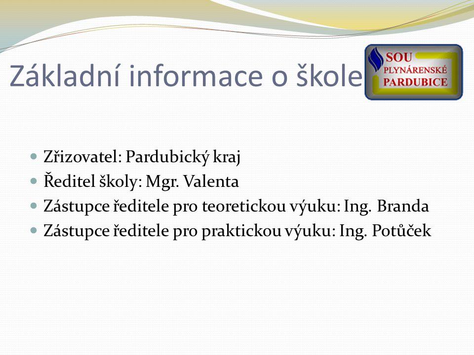 Základní informace o škole Zřizovatel: Pardubický kraj Ředitel školy: Mgr.