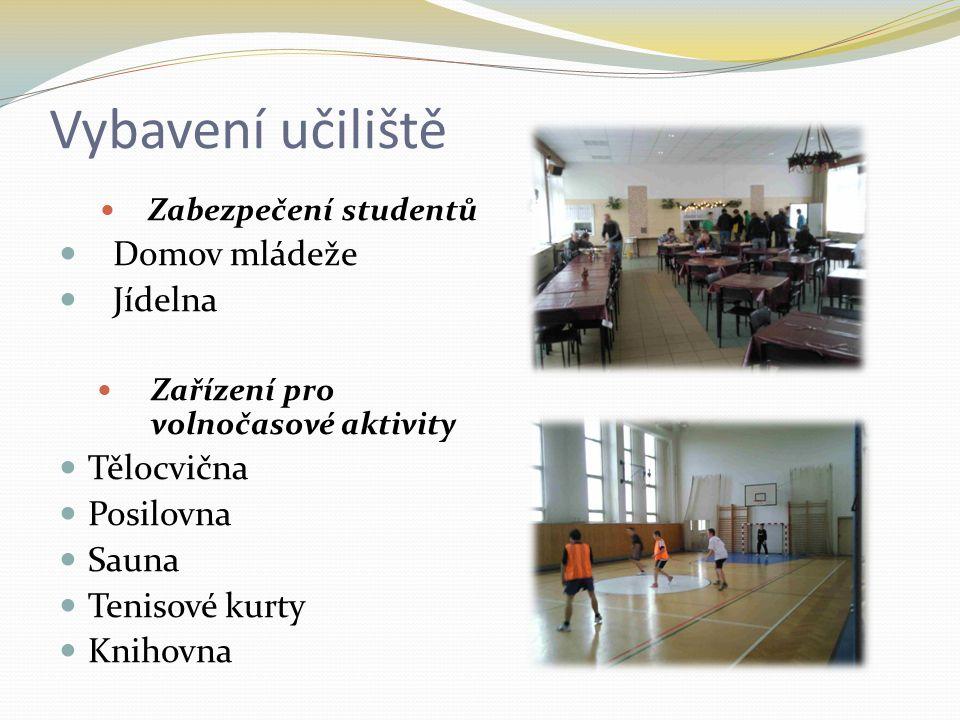 Vybavení učiliště Zabezpečení studentů Domov mládeže Jídelna Zařízení pro volnočasové aktivity Tělocvična Posilovna Sauna Tenisové kurty Knihovna