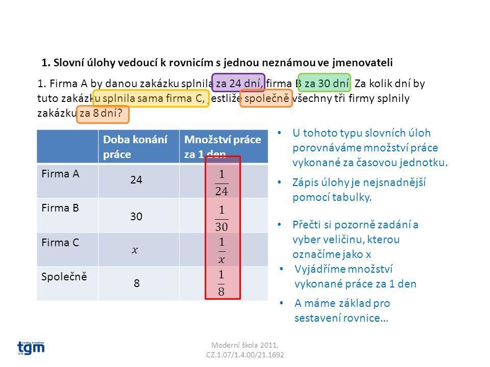 Moderní škola 2011, CZ.1.07/1.4.00/21.1692 Doba konání práce Množství práce za 1 den Firma A Firma B Firma C Společně 1.