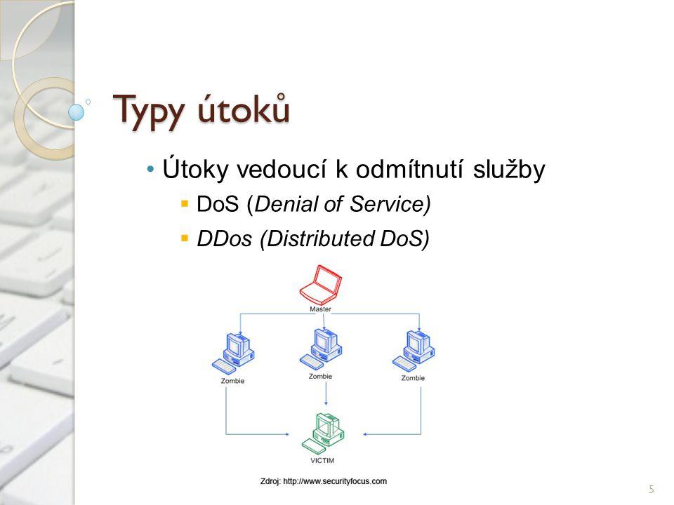 Typy útoků Útoky vedoucí k odmítnutí služby  DoS (Denial of Service) 5  DDos (Distributed DoS)