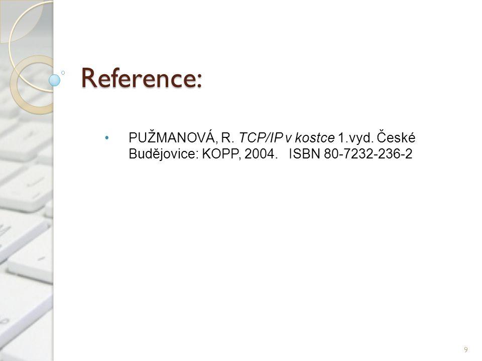 Reference: PUŽMANOVÁ, R. TCP/IP v kostce 1.vyd. České Budějovice: KOPP, 2004. ISBN 80-7232-236-2 9