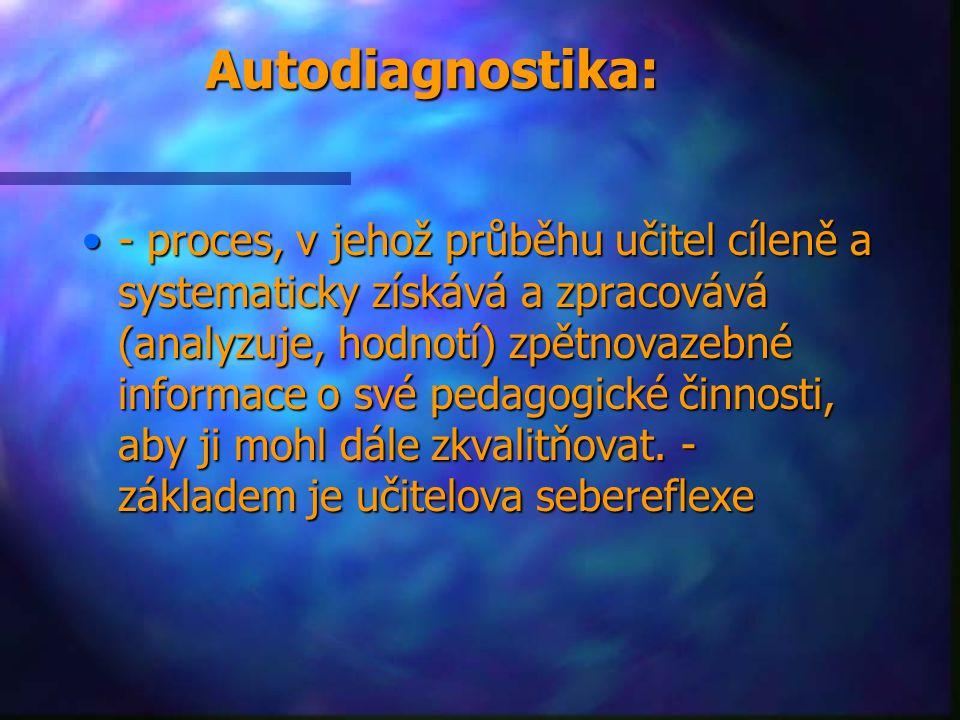 Autodiagnostika: - proces, v jehož průběhu učitel cíleně a systematicky získává a zpracovává (analyzuje, hodnotí) zpětnovazebné informace o své pedago