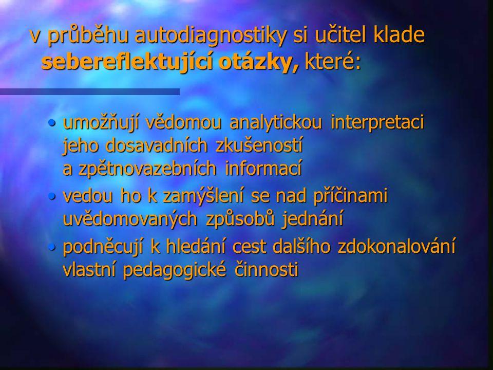 v průběhu autodiagnostiky si učitel klade sebereflektující otázky, které: v průběhu autodiagnostiky si učitel klade sebereflektující otázky, které: um