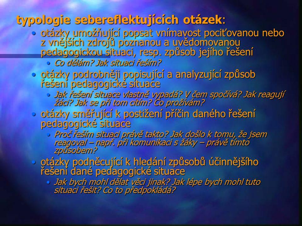 typologie sebereflektujících otázek: otázky umožňující popsat vnímavost pociťovanou nebo z vnějších zdrojů poznanou a uvědomovanou pedagogickou situac