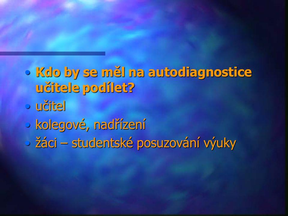 Kdo by se měl na autodiagnostice učitele podílet?Kdo by se měl na autodiagnostice učitele podílet? učitelučitel kolegové, nadřízeníkolegové, nadřízení