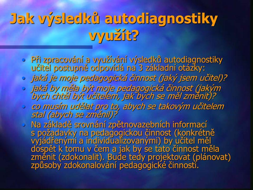 Jak výsledků autodiagnostiky využít? Při zpracování a využívání výsledků autodiagnostiky učitel postupně odpovídá na 3 základní otázky:Při zpracování