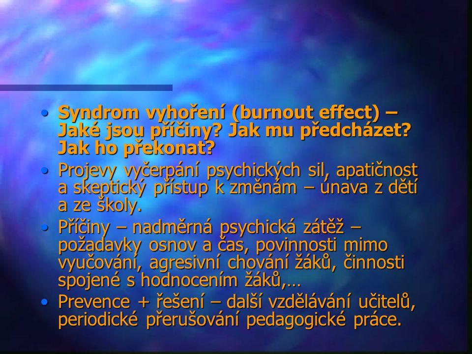Syndrom vyhoření (burnout effect) – Jaké jsou příčiny.