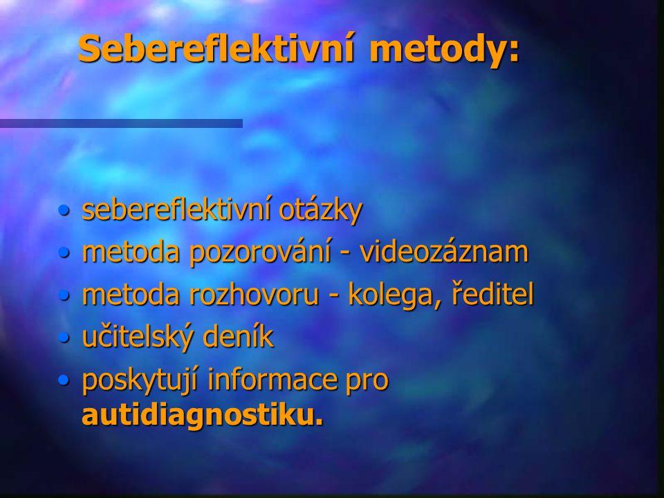 Sebereflektivní metody: sebereflektivní otázkysebereflektivní otázky metoda pozorování - videozáznammetoda pozorování - videozáznam metoda rozhovoru - kolega, ředitelmetoda rozhovoru - kolega, ředitel učitelský deníkučitelský deník poskytují informace pro autidiagnostiku.poskytují informace pro autidiagnostiku.