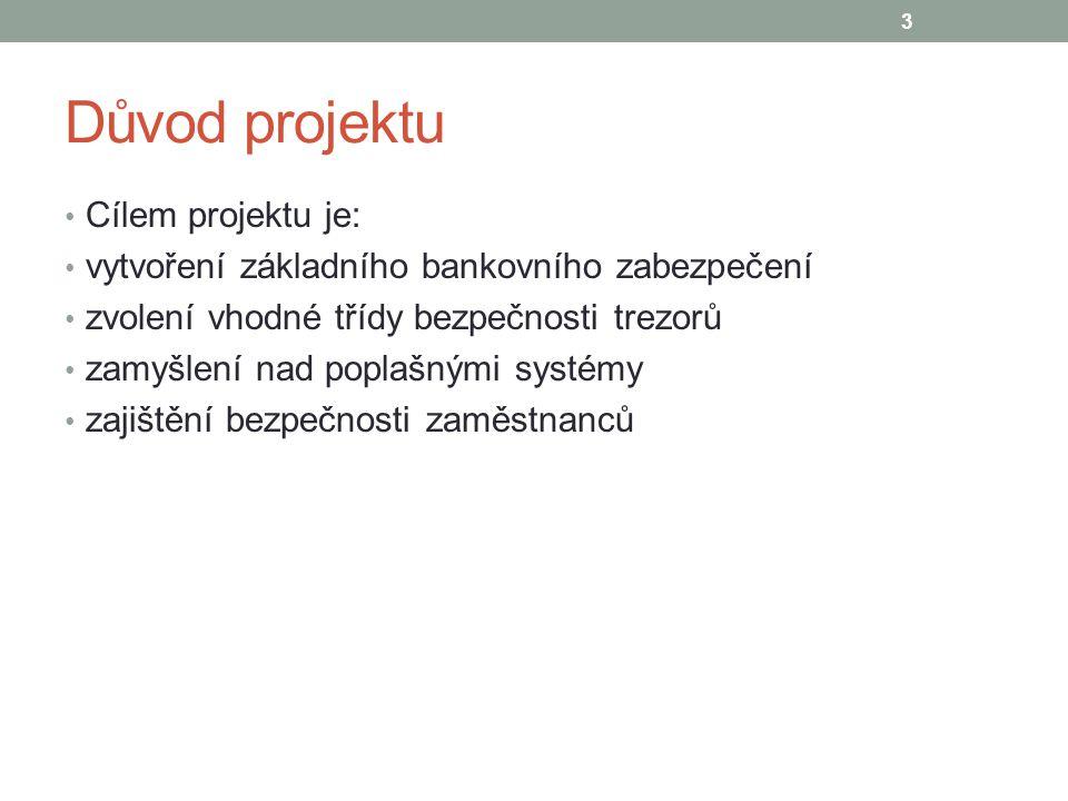 Důvod projektu Cílem projektu je: vytvoření základního bankovního zabezpečení zvolení vhodné třídy bezpečnosti trezorů zamyšlení nad poplašnými systémy zajištění bezpečnosti zaměstnanců 3