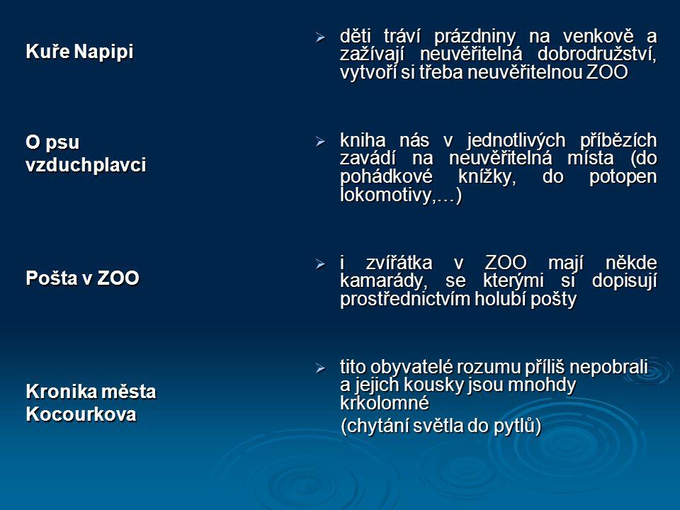 Kuře Napipi O psu vzduchplavci Pošta v ZOO Kronika města Kocourkova  děti tráví prázdniny na venkově a zažívají neuvěřitelná dobrodružství, vytvoří s