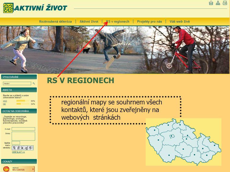 RS V REGIONECH regionální mapy se souhrnem všech kontaktů, které jsou zveřejněny na webových stránkách