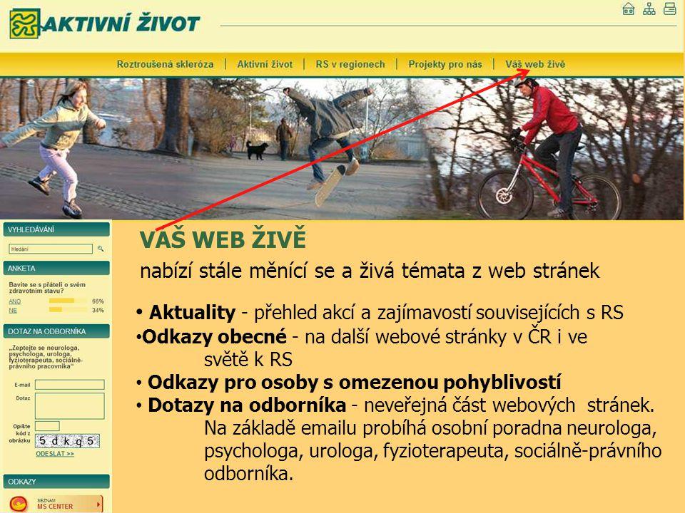 VÁŠ WEB ŽIVĚ nabízí stále měnící se a živá témata z web stránek Aktuality - přehled akcí a zajímavostí souvisejících s RS Odkazy obecné - na další web