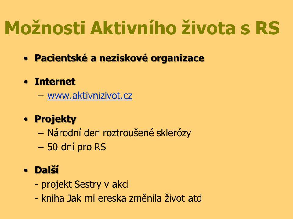 Možnosti Aktivního života s RS Pacientské a neziskové organizacePacientské a neziskové organizace InternetInternet –www.aktivnizivot.czwww.aktivnizivo