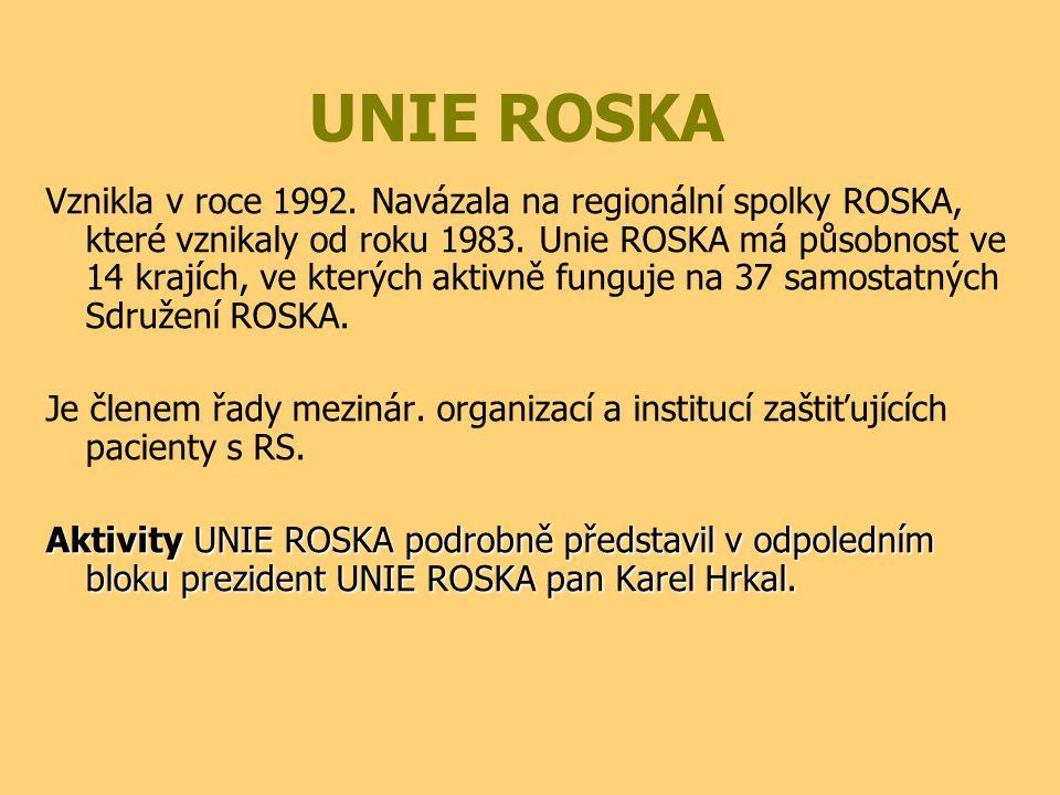 UNIE ROSKA Vznikla v roce 1992. Navázala na regionální spolky ROSKA, které vznikaly od roku 1983. Unie ROSKA má působnost ve 14 krajích, ve kterých ak