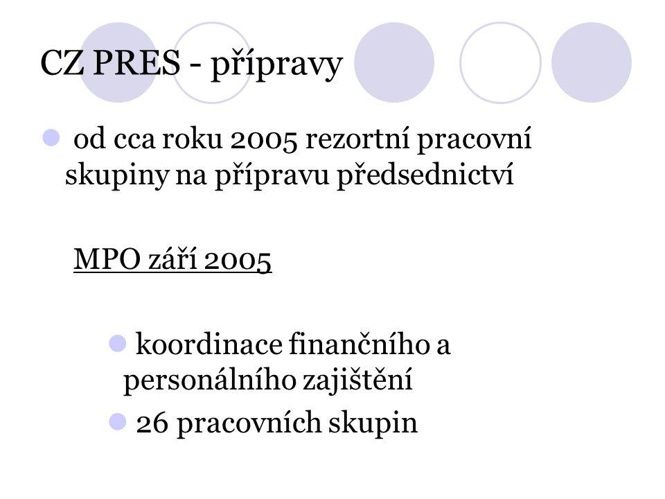 CZ PRES - přípravy od cca roku 2005 rezortní pracovní skupiny na přípravu předsednictví MPO září 2005 koordinace finančního a personálního zajištění 26 pracovních skupin