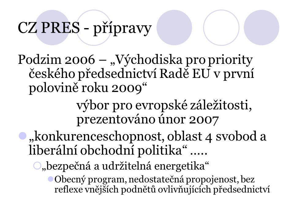 """CZ PRES - přípravy Podzim 2006 – """"Východiska pro priority českého předsednictví Radě EU v první polovině roku 2009 výbor pro evropské záležitosti, prezentováno únor 2007 """"konkurenceschopnost, oblast 4 svobod a liberální obchodní politika ….."""