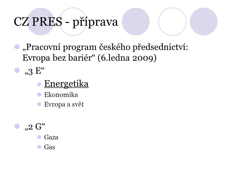"""CZ PRES - příprava """"Pracovní program českého předsednictví: Evropa bez bariér"""" (6.ledna 2009) """"3 E"""" Energetika Ekonomika Evropa a svět """"2 G"""" Gaza Gas"""