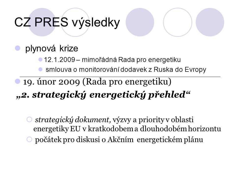 CZ PRES výsledky plynová krize 12.1.2009 – mimořádná Rada pro energetiku smlouva o monitorování dodavek z Ruska do Evropy 19. únor 2009 (Rada pro ener