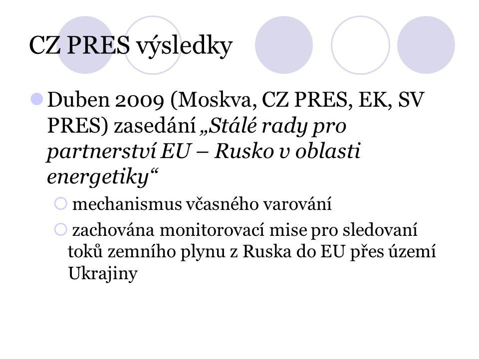 """CZ PRES výsledky Duben 2009 (Moskva, CZ PRES, EK, SV PRES) zasedání """"Stálé rady pro partnerství EU – Rusko v oblasti energetiky""""  mechanismus včasnéh"""