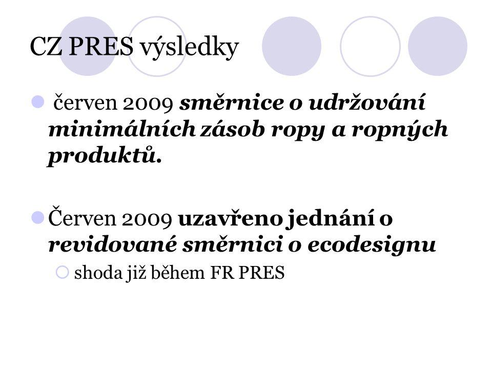 CZ PRES výsledky červen 2009 směrnice o udržování minimálních zásob ropy a ropných produktů. Červen 2009 uzavřeno jednání o revidované směrnici o ecod