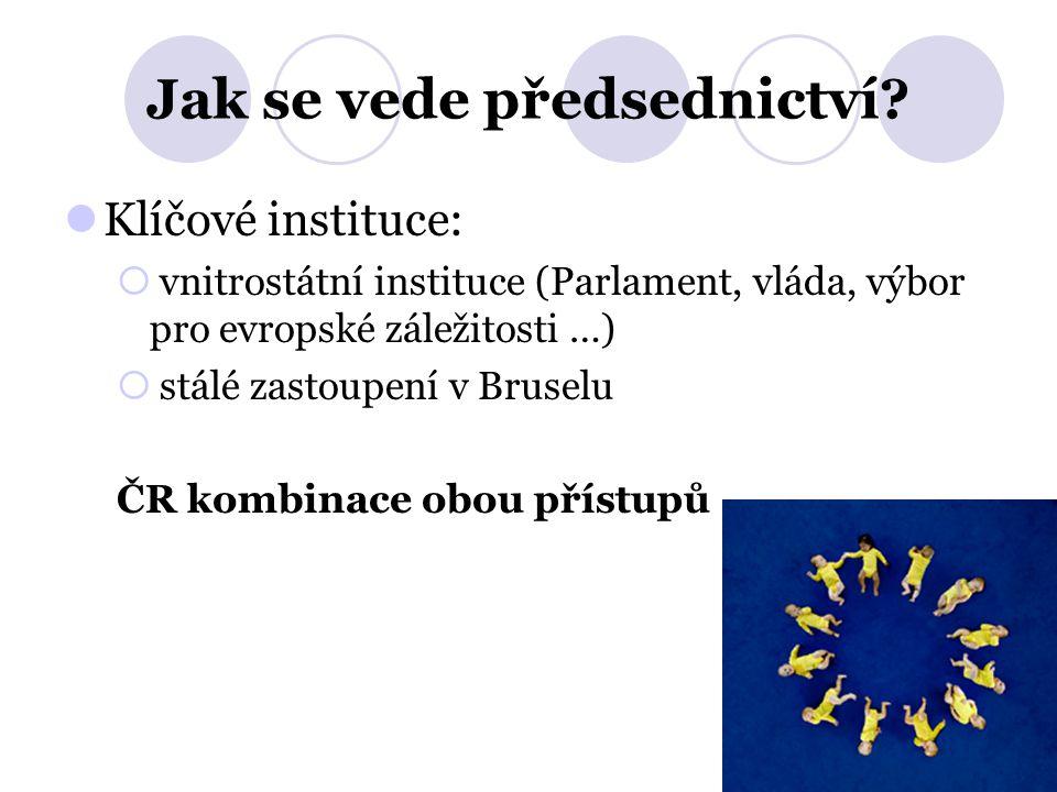 Jak se vede předsednictví? Klíčové instituce:  vnitrostátní instituce (Parlament, vláda, výbor pro evropské záležitosti …)  stálé zastoupení v Bruse