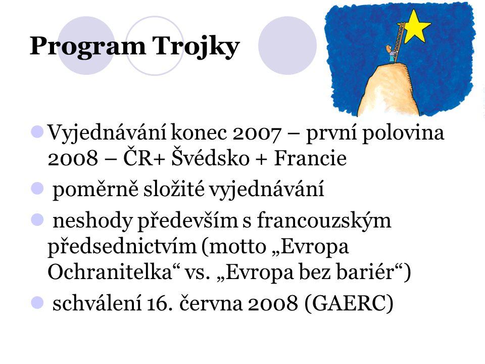 Program Trojky Vyjednávání konec 2007 – první polovina 2008 – ČR+ Švédsko + Francie poměrně složité vyjednávání neshody především s francouzským předs