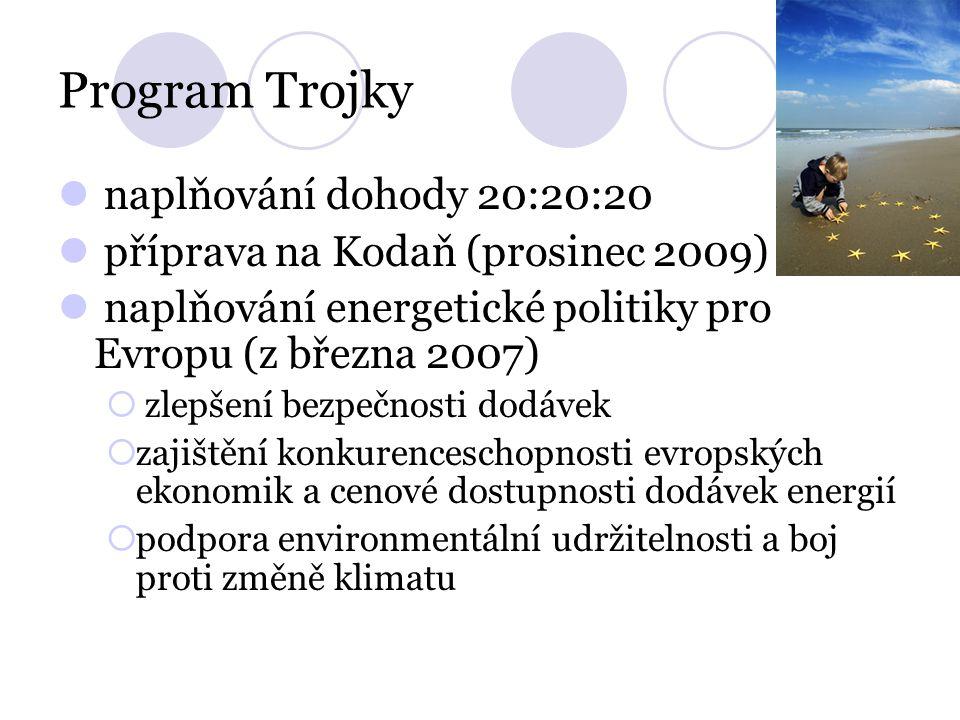 Program Trojky naplňování dohody 20:20:20 příprava na Kodaň (prosinec 2009) naplňování energetické politiky pro Evropu (z března 2007)  zlepšení bezp