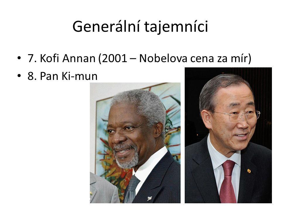 Generální tajemníci 7. Kofi Annan (2001 – Nobelova cena za mír) 8. Pan Ki-mun