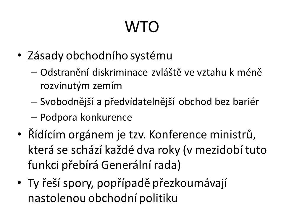 WTO Zásady obchodního systému – Odstranění diskriminace zvláště ve vztahu k méně rozvinutým zemím – Svobodnější a předvídatelnější obchod bez bariér – Podpora konkurence Řídícím orgánem je tzv.