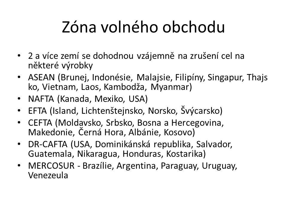 Zóna volného obchodu 2 a více zemí se dohodnou vzájemně na zrušení cel na některé výrobky ASEAN (Brunej, Indonésie, Malajsie, Filipíny, Singapur, Thajs ko, Vietnam, Laos, Kambodža, Myanmar) NAFTA (Kanada, Mexiko, USA) EFTA (Island, Lichtenštejnsko, Norsko, Švýcarsko) CEFTA (Moldavsko, Srbsko, Bosna a Hercegovina, Makedonie, Černá Hora, Albánie, Kosovo) DR-CAFTA (USA, Dominikánská republika, Salvador, Guatemala, Nikaragua, Honduras, Kostarika) MERCOSUR - Brazílie, Argentina, Paraguay, Uruguay, Venezeula