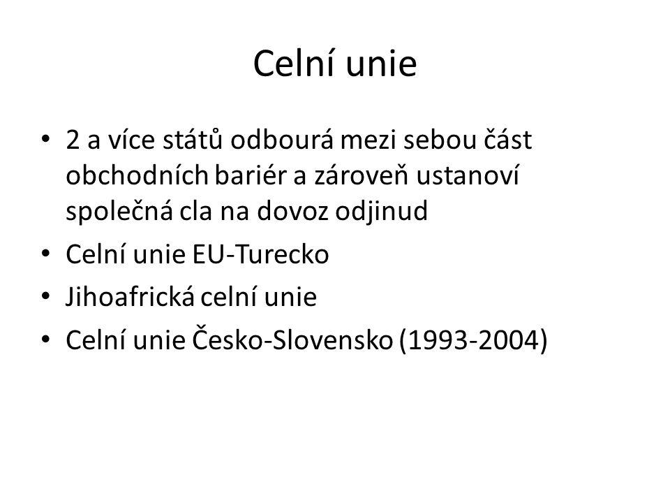 Celní unie 2 a více států odbourá mezi sebou část obchodních bariér a zároveň ustanoví společná cla na dovoz odjinud Celní unie EU-Turecko Jihoafrická celní unie Celní unie Česko-Slovensko (1993-2004)